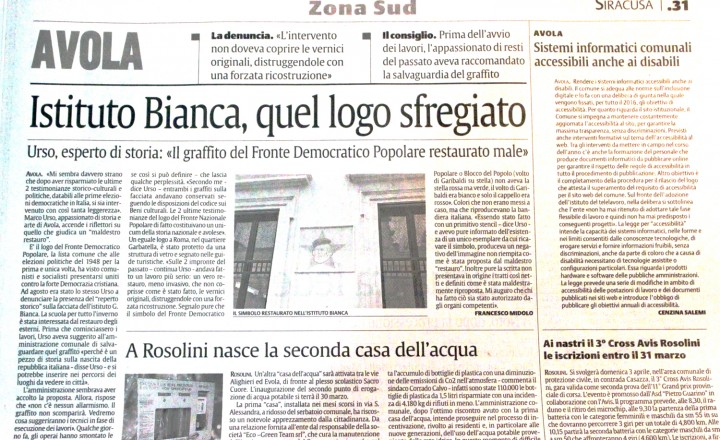 Istituto Bianca, quel logo sfregiato